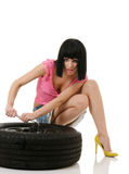 Woman and wheel Royalty Free Stock Images