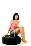 Woman and wheel Royalty Free Stock Photography