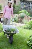 woman with wheelbarrow full of flowers Stock Image