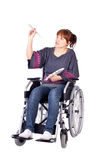 Woman on wheelchair Royalty Free Stock Images