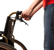 Woman with wheelchair Royalty Free Stock Photography
