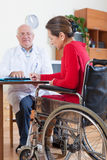 Woman in   wheelchair with   doctor. Stock Photo