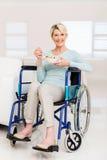 woman wheelchair fruit salad Royalty Free Stock Photos