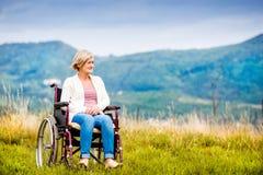 Woman in wheelchair Stock Photos