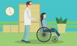 Woman in a wheelchair to be released from the hospital stock illustration