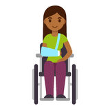 Woman in wheelchair. Young ethnic woman in wheelchair with arm sling, cute cartoon vector art. Injury and rehabilitation concept, healthcare illustration Royalty Free Stock Photography