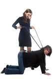 Woman with whip and man in jacket Royalty Free Stock Images