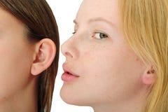 Woman whispering in friend´s ear Stock Photos