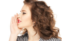 Woman whispering gossip Stock Photo