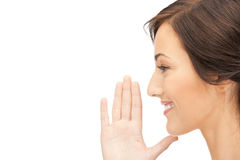 Woman whispering gossip Stock Image