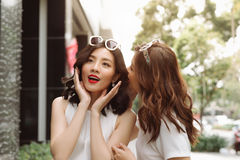Woman whispering in her friends ears. Two excited friends shoppi. Ng Stock Image