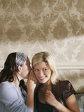 Woman Whispering To Happy Friend's Ear Stock Image