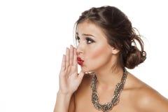 Woman whispering Stock Photos