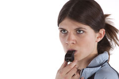 Woman with a whistle Royalty Free Stock Photos