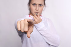 Woman with whistle Stock Photography