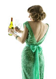 Woman whit champagne wine glasses, elegant lady celebration part. Y, sensual girl in evening retro dress, isolated on white background Royalty Free Stock Photo