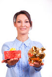 Woman whit Christmas Gift box Royalty Free Stock Photo