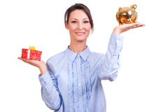 Woman whit Christmas Gift box Royalty Free Stock Photography