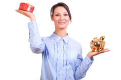 Woman whit Christmas Gift box Stock Photo