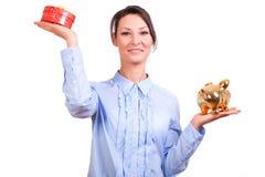 Woman whit Christmas Gift box Stock Photo