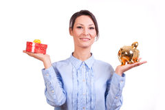 Woman whit Christmas Gift box Royalty Free Stock Images