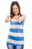 Woman whit thumbs up Stock Images