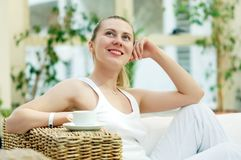 Woman in white Stock Photo