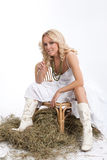 Woman In White. Young blonde woman in a white dress and cowboy boots royalty free stock photography