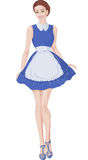Woman in a white apron. Woman in a blue dress and white apron Royalty Free Stock Photography
