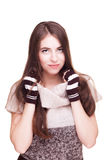 Woman on white background in fingerless gloves Stock Images