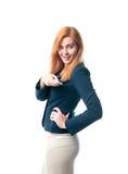 Woman on white background remote controls Stock Photos