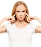 Woman at white background Royalty Free Stock Photography