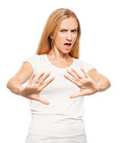 Woman at white background Royalty Free Stock Image
