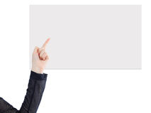 Woman with a white banner. Stock Photos