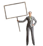 Woman with white banner Stock Photography