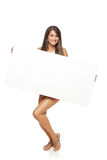 Woman with white banner Royalty Free Stock Photo