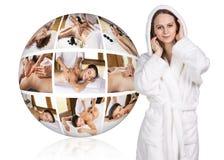 Woman in white bathrobe near collage ball Stock Photos