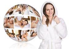 Woman in white bathrobe near collage ball Royalty Free Stock Image