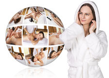 Woman in white bathrobe near collage ball Stock Images