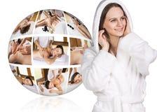 Woman in white bathrobe near collage ball Stock Photo