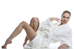 Woman in white bathrobe Royalty Free Stock Photography