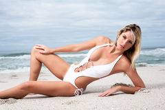 Woman in white bikini Royalty Free Stock Photos