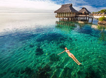 Woman in white bikini swimming in coral lagoon, Moorea, Tahiti Royalty Free Stock Images