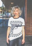 Woman in White and Black Gun-printed Crew-neck Shirt stock images