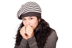 Woman in White and Black Stripe Cap and Grey Shirt Hands to Face Stock Images