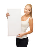 Woman with white blank board Stock Photos
