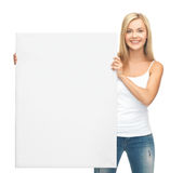 Woman with white blank board. Happy smiling woman with white blank board Stock Photos