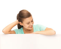 Woman with white blank board Stock Photo