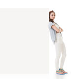 Woman and white blankboard Royalty Free Stock Image