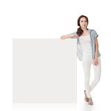 Woman and white blankboard Stock Photography